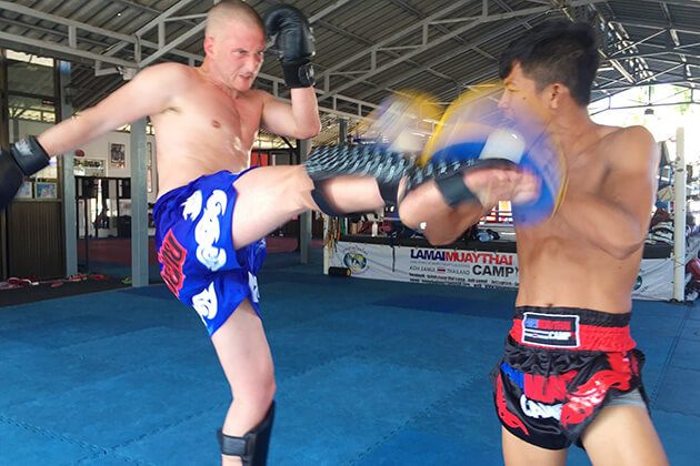 learning the art of Thai kickboxing